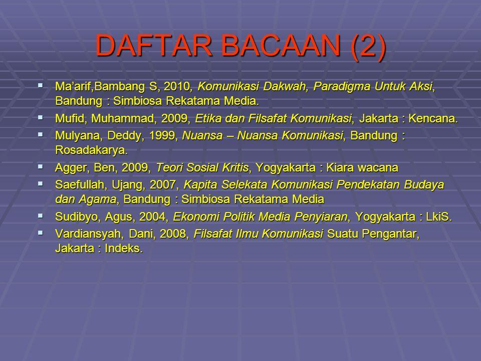 DAFTAR BACAAN (2) Ma'arif,Bambang S, 2010, Komunikasi Dakwah, Paradigma Untuk Aksi, Bandung : Simbiosa Rekatama Media.