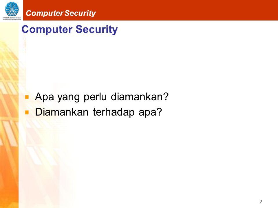 Computer Security Apa yang perlu diamankan Diamankan terhadap apa