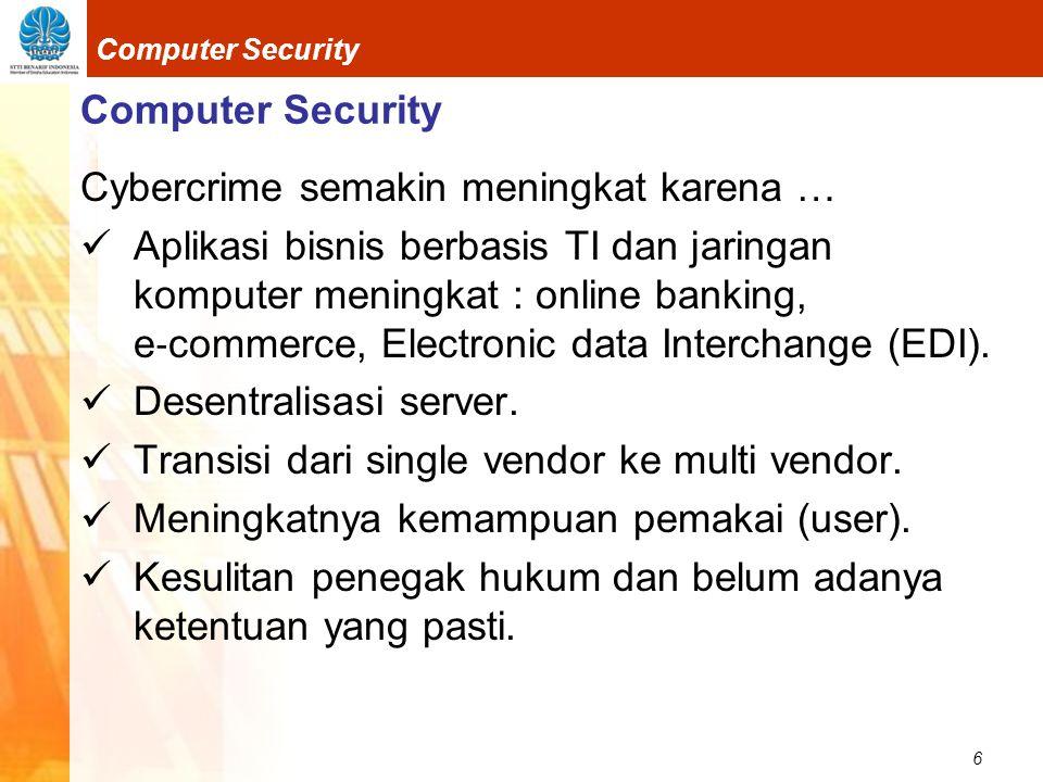 Computer Security Cybercrime semakin meningkat karena …
