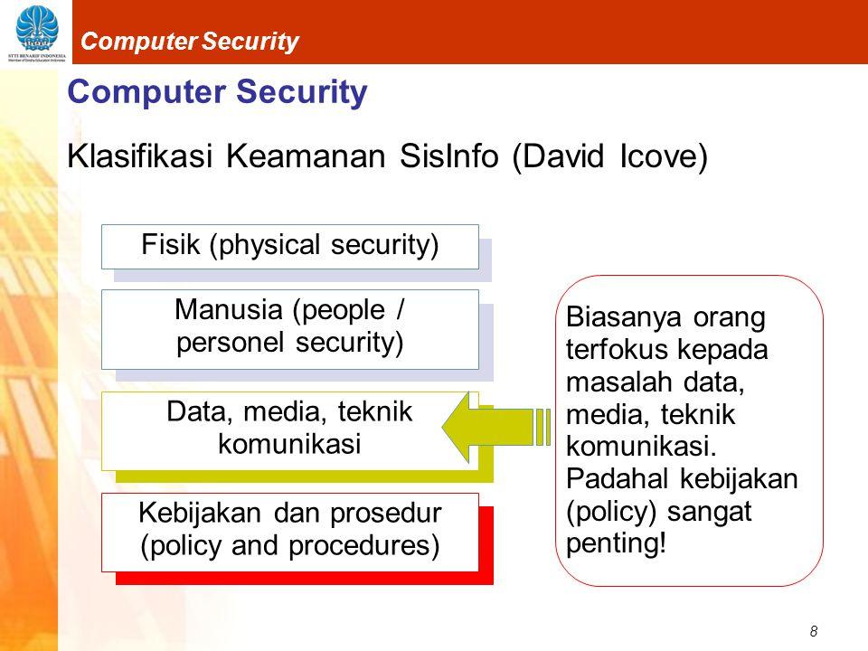 Klasifikasi Keamanan SisInfo (David Icove)