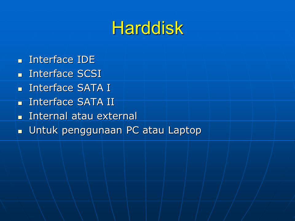 Harddisk Interface IDE Interface SCSI Interface SATA I