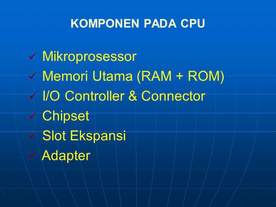 Memori Utama (RAM + ROM) I/O Controller & Connector Chipset