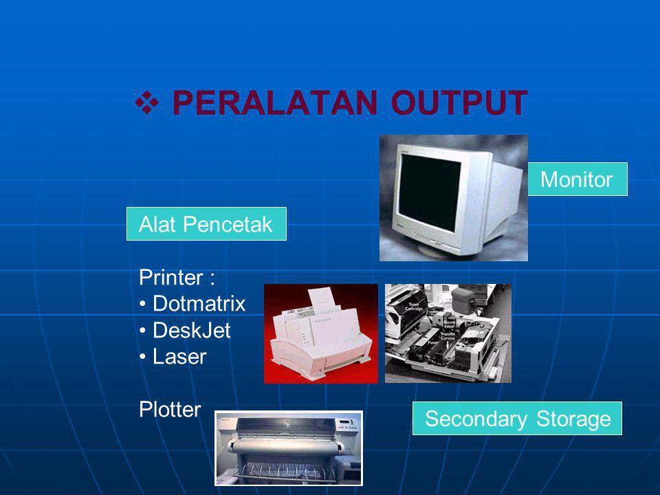 PERALATAN OUTPUT Monitor Alat Pencetak Printer : Dotmatrix DeskJet