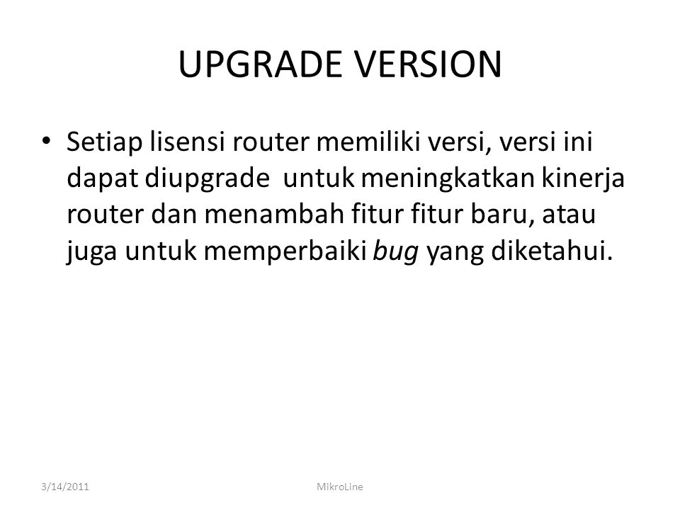 UPGRADE VERSION
