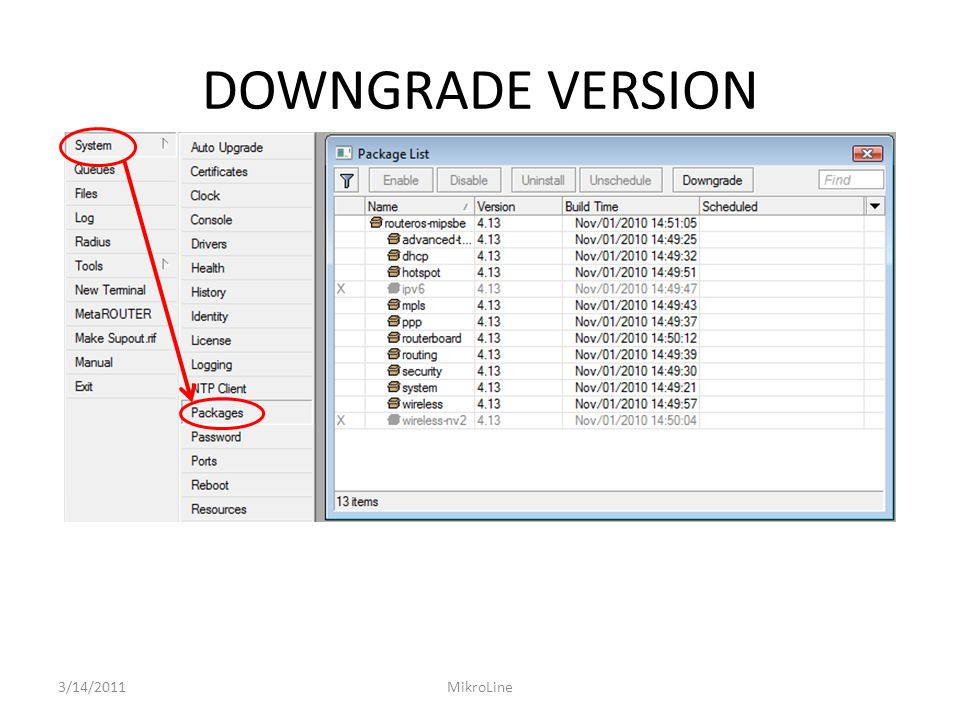 DOWNGRADE VERSION 3/14/2011 MikroLine