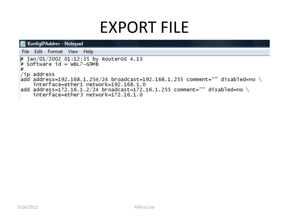 EXPORT FILE 3/14/2011 MikroLine