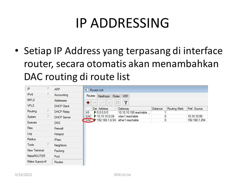 IP ADDRESSING Setiap IP Address yang terpasang di interface router, secara otomatis akan menambahkan DAC routing di route list.