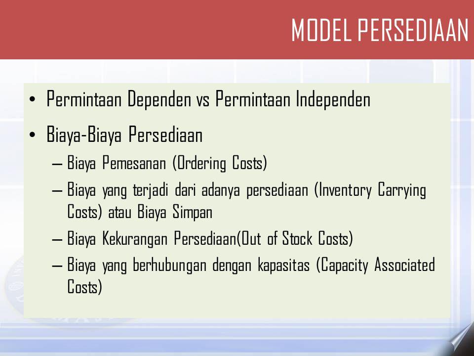 MODEL PERSEDIAAN Permintaan Dependen vs Permintaan Independen