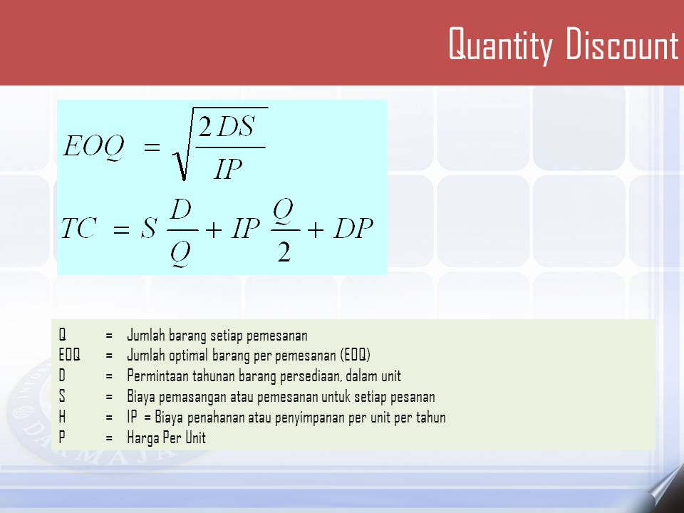 Quantity Discount Q = Jumlah barang setiap pemesanan