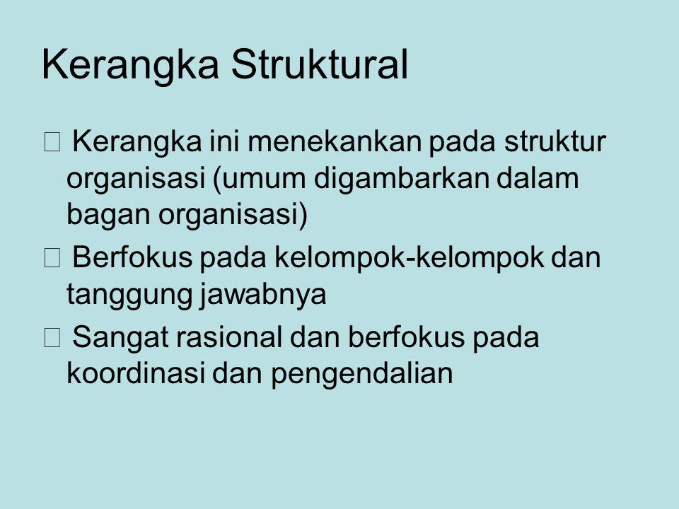 Kerangka Struktural  Kerangka ini menekankan pada struktur organisasi (umum digambarkan dalam bagan organisasi)