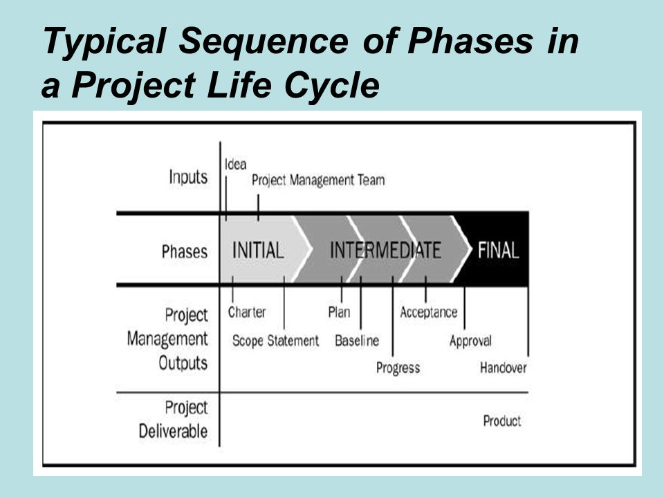 Typical Sequence of Phases in a Project Life Cycle