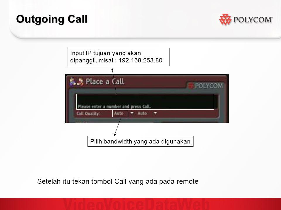 Outgoing Call Setelah itu tekan tombol Call yang ada pada remote