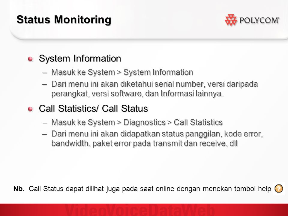 Status Monitoring System Information Call Statistics/ Call Status
