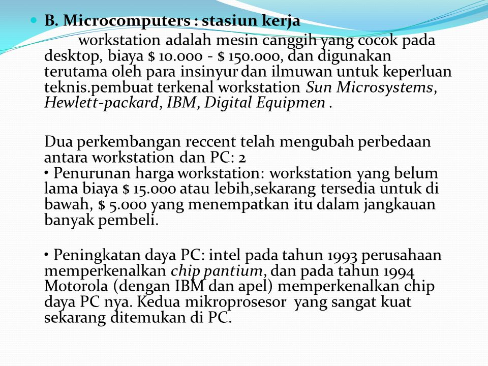 B. Microcomputers : stasiun kerja