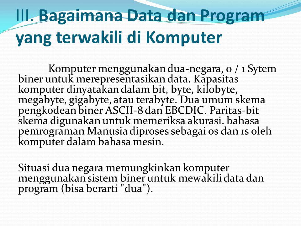 III. Bagaimana Data dan Program yang terwakili di Komputer