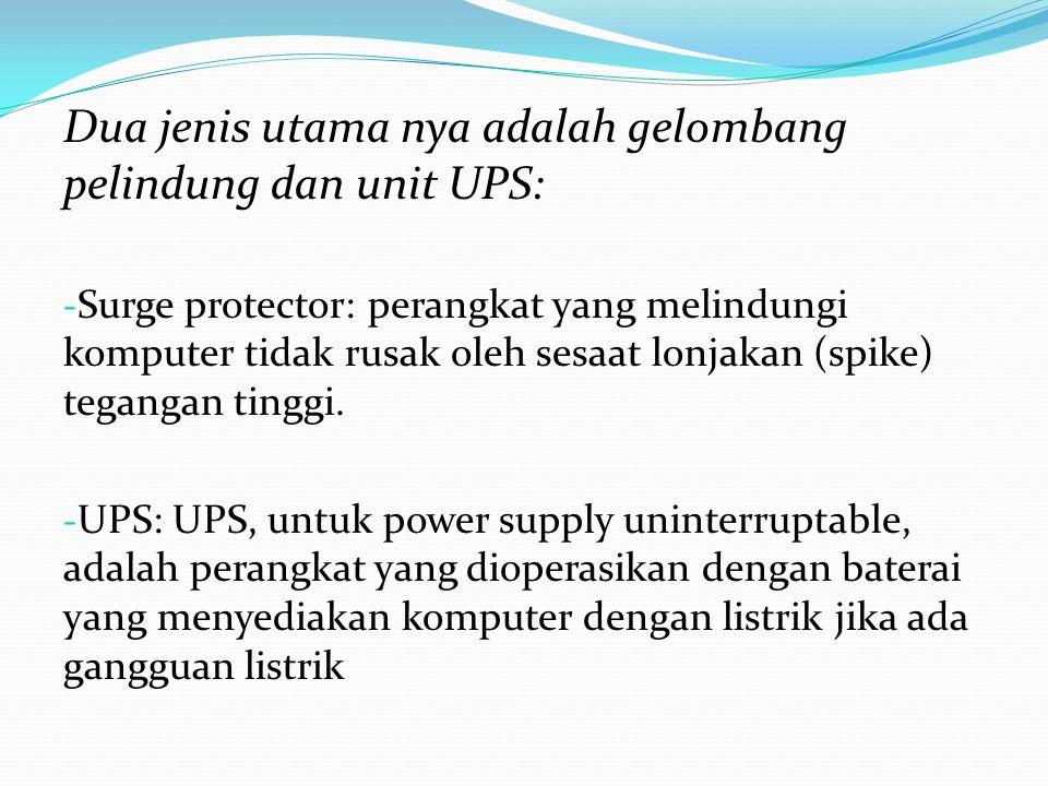 Dua jenis utama nya adalah gelombang pelindung dan unit UPS: