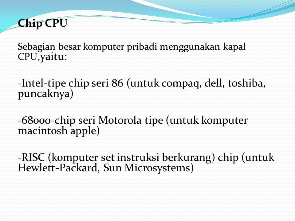 Chip CPU Sebagian besar komputer pribadi menggunakan kapal CPU,yaitu: Intel-tipe chip seri 86 (untuk compaq, dell, toshiba, puncaknya)