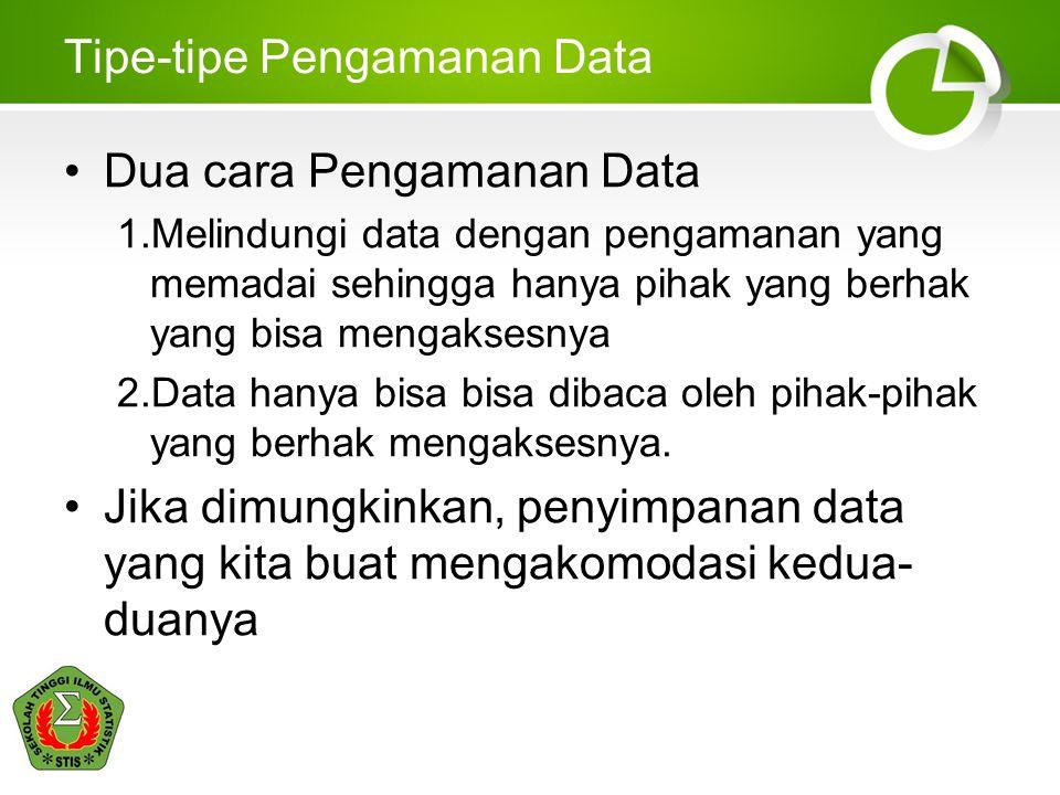 Tipe-tipe Pengamanan Data