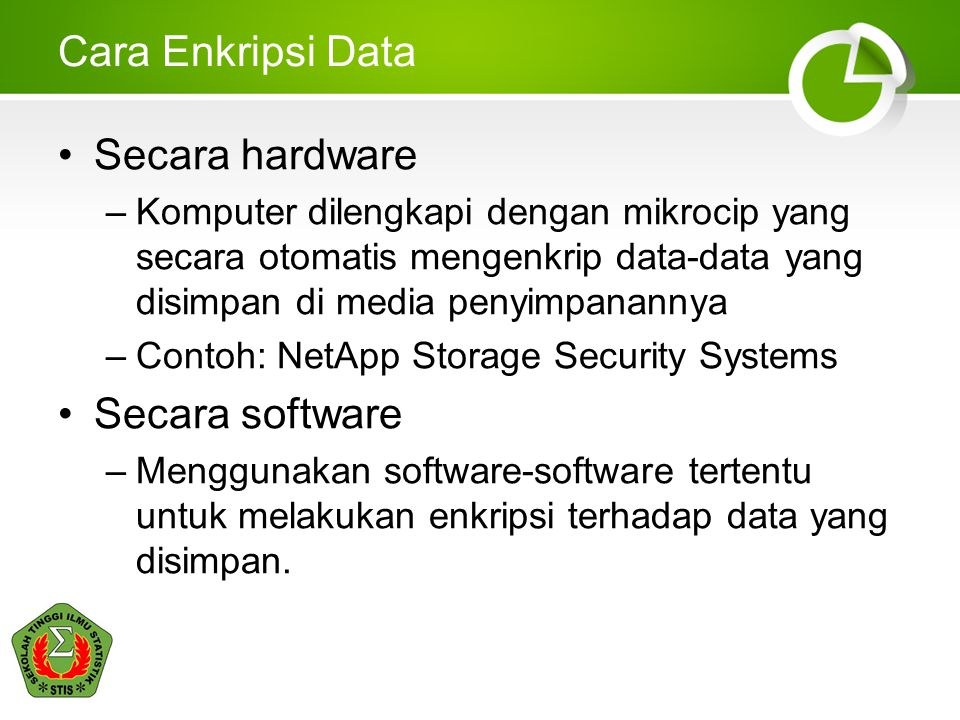 Cara Enkripsi Data Secara hardware Secara software