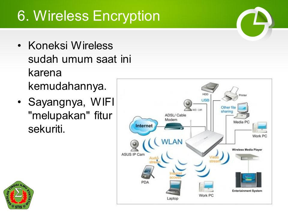 6. Wireless Encryption Koneksi Wireless sudah umum saat ini karena kemudahannya.