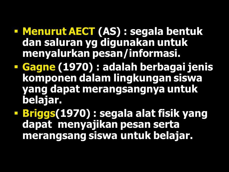 Menurut AECT (AS) : segala bentuk dan saluran yg digunakan untuk menyalurkan pesan/informasi.