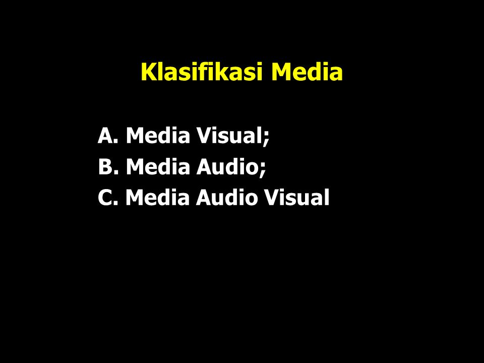 Klasifikasi Media A. Media Visual; B. Media Audio;