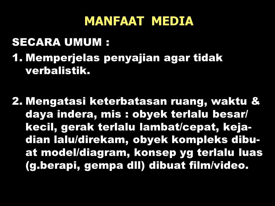 MANFAAT MEDIA SECARA UMUM :