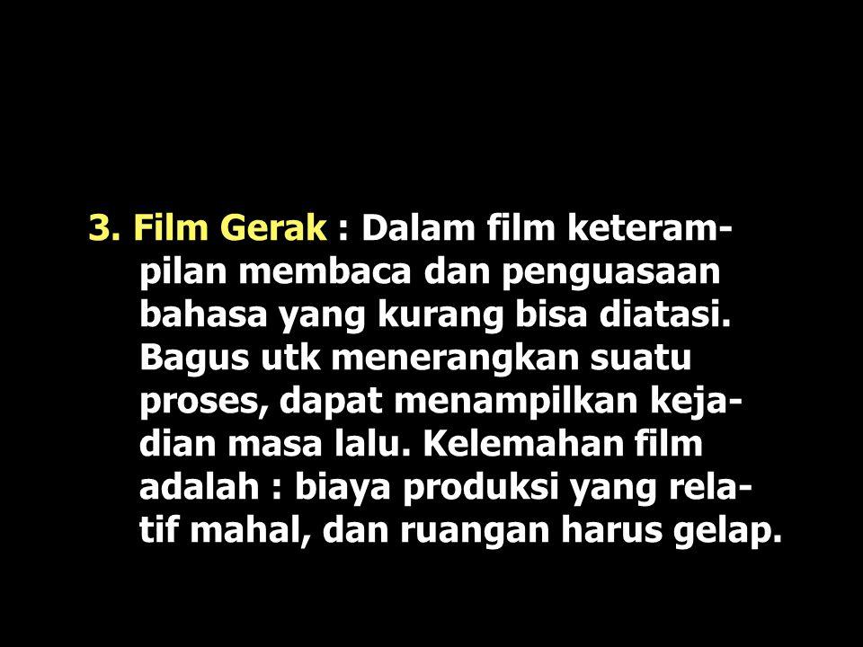 3. Film Gerak : Dalam film keteram-pilan membaca dan penguasaan bahasa yang kurang bisa diatasi.