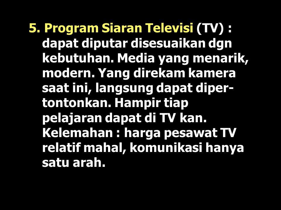 5. Program Siaran Televisi (TV) : dapat diputar disesuaikan dgn kebutuhan.