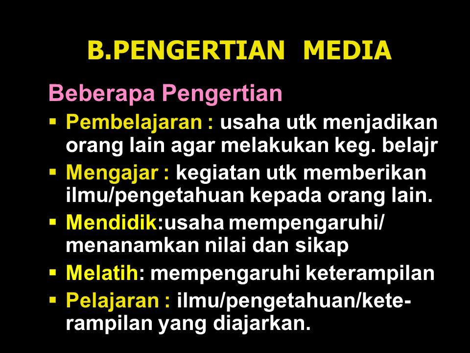 B.PENGERTIAN MEDIA Beberapa Pengertian
