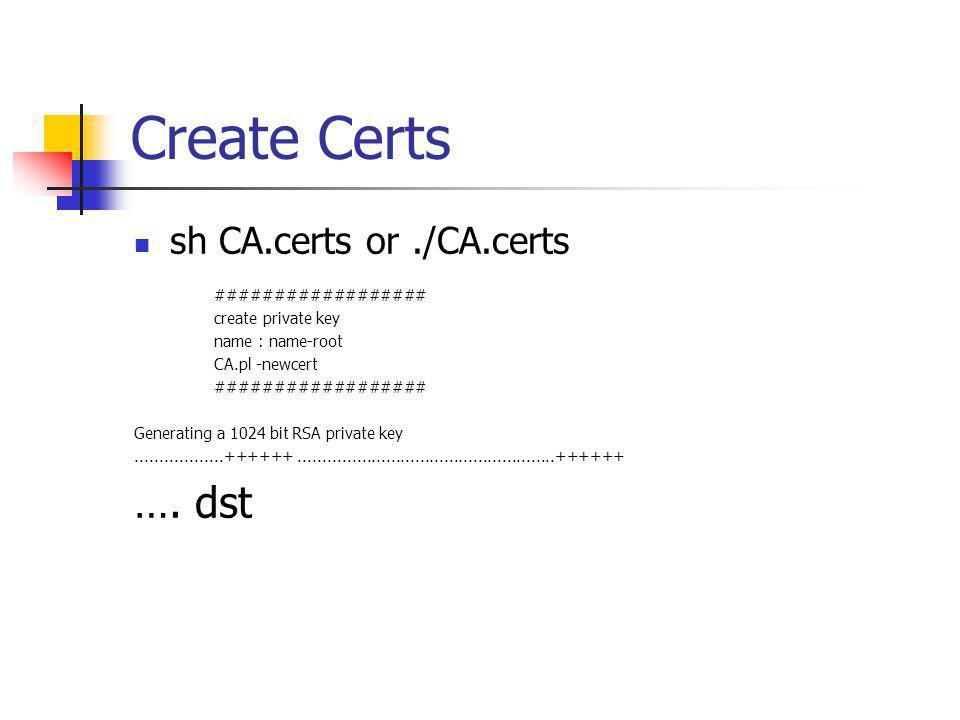 Create Certs …. dst sh CA.certs or ./CA.certs ##################