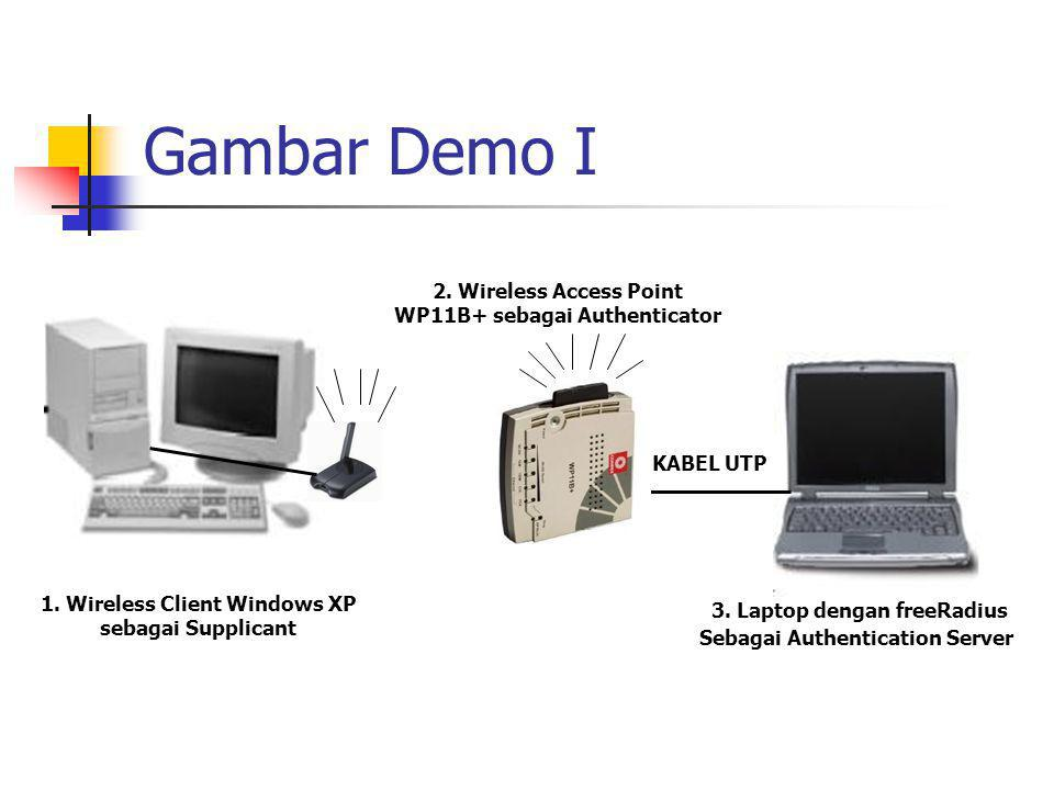 Gambar Demo I 2. Wireless Access Point WP11B+ sebagai Authenticator