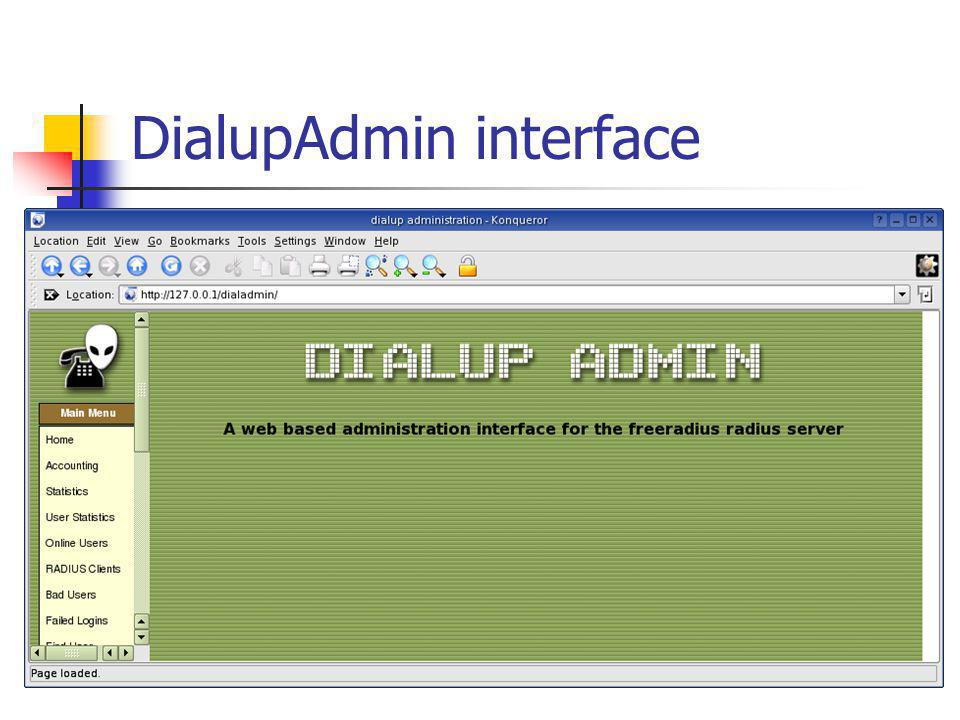 DialupAdmin interface