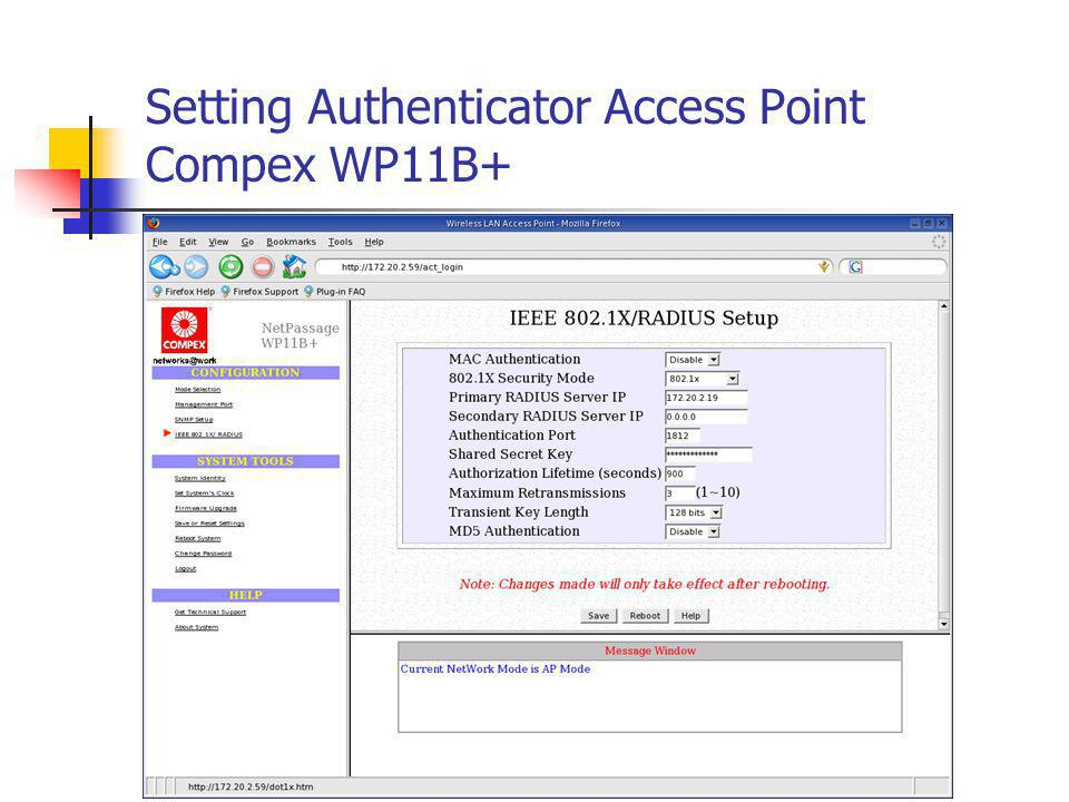 Setting Authenticator Access Point Compex WP11B+
