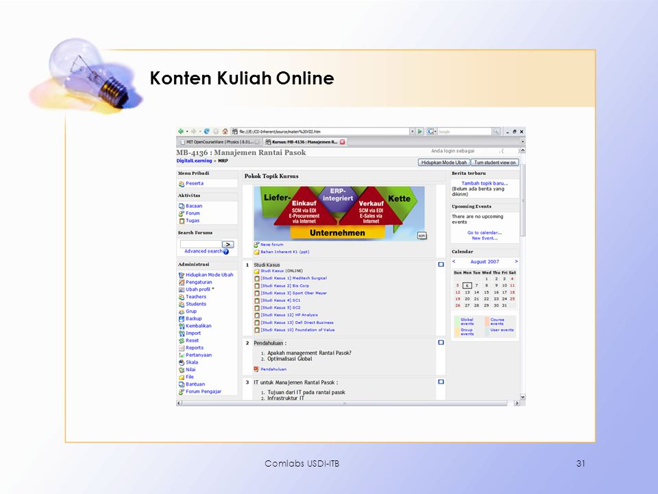 Konten Kuliah Online Comlabs USDI-ITB