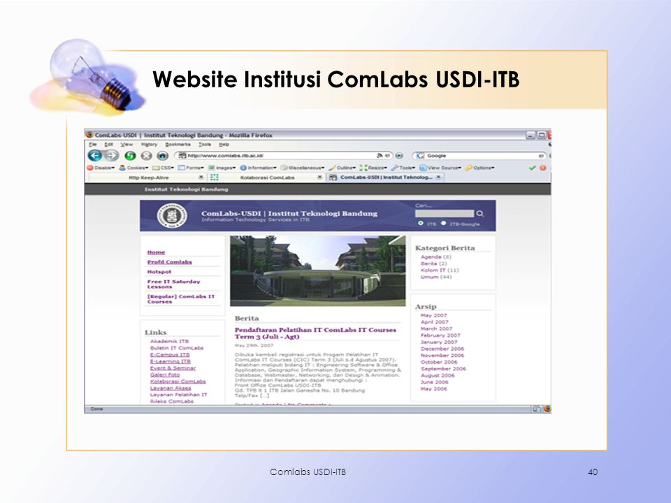 Website Institusi ComLabs USDI-ITB