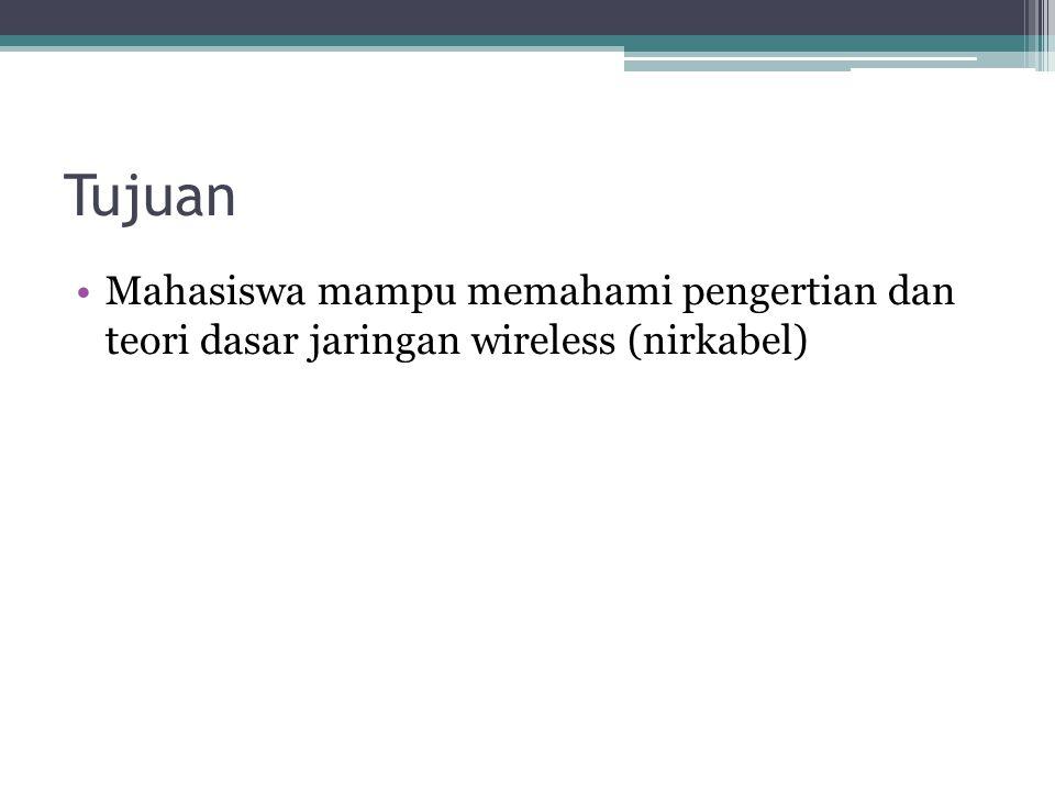 Tujuan Mahasiswa mampu memahami pengertian dan teori dasar jaringan wireless (nirkabel)