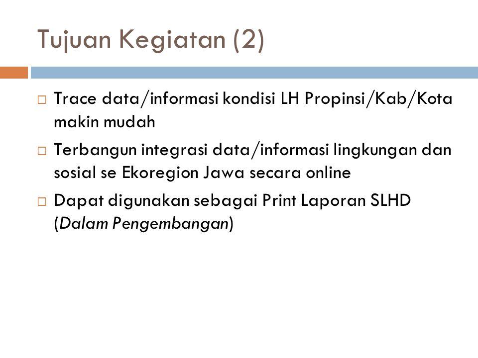 Tujuan Kegiatan (2) Trace data/informasi kondisi LH Propinsi/Kab/Kota makin mudah.