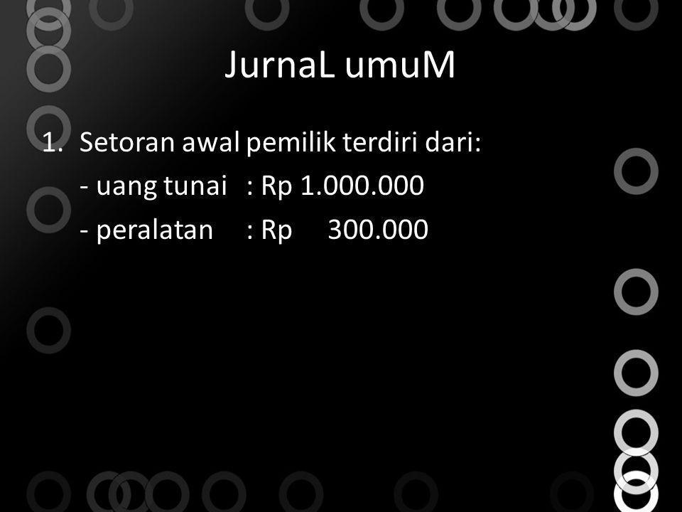 JurnaL umuM Setoran awal pemilik terdiri dari: