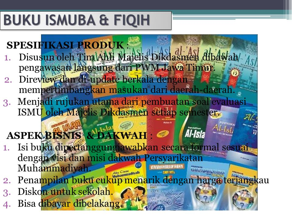 BUKU ISMUBA & FIQIH SPESIFIKASI PRODUK :