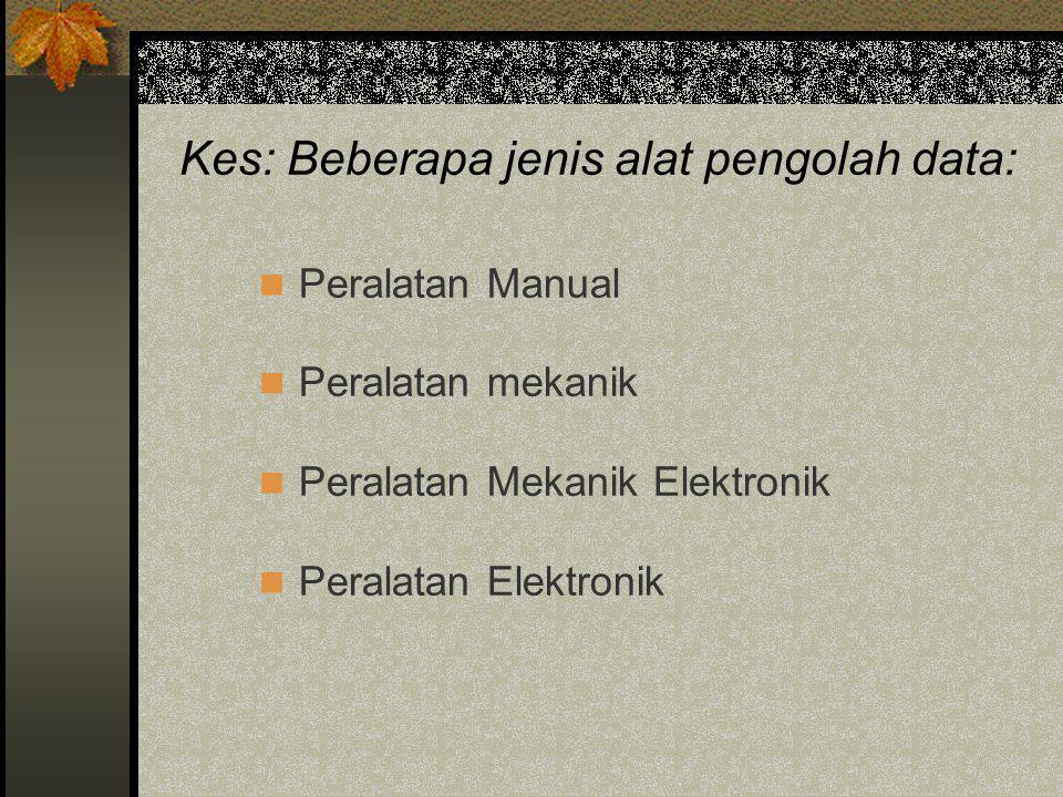 Kes: Beberapa jenis alat pengolah data:
