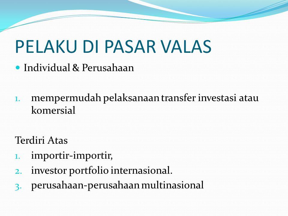 PELAKU DI PASAR VALAS Individual & Perusahaan