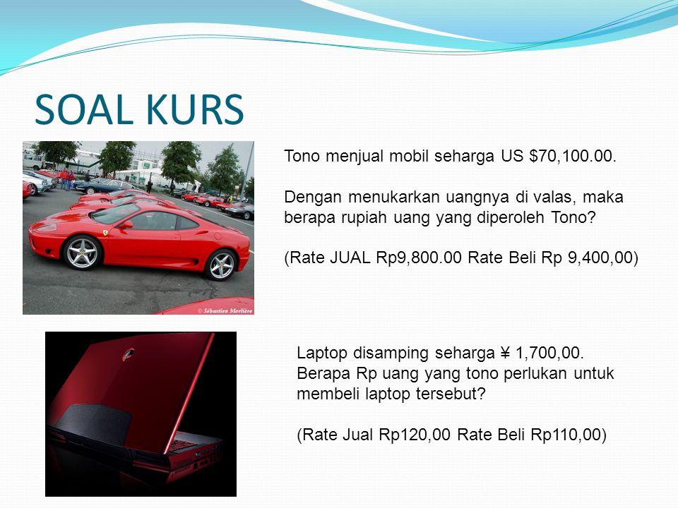 SOAL KURS Tono menjual mobil seharga US $70,100.00.