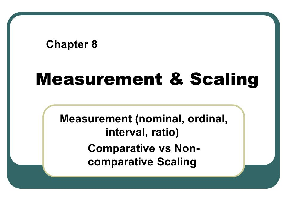 Measurement & Scaling Chapter 8