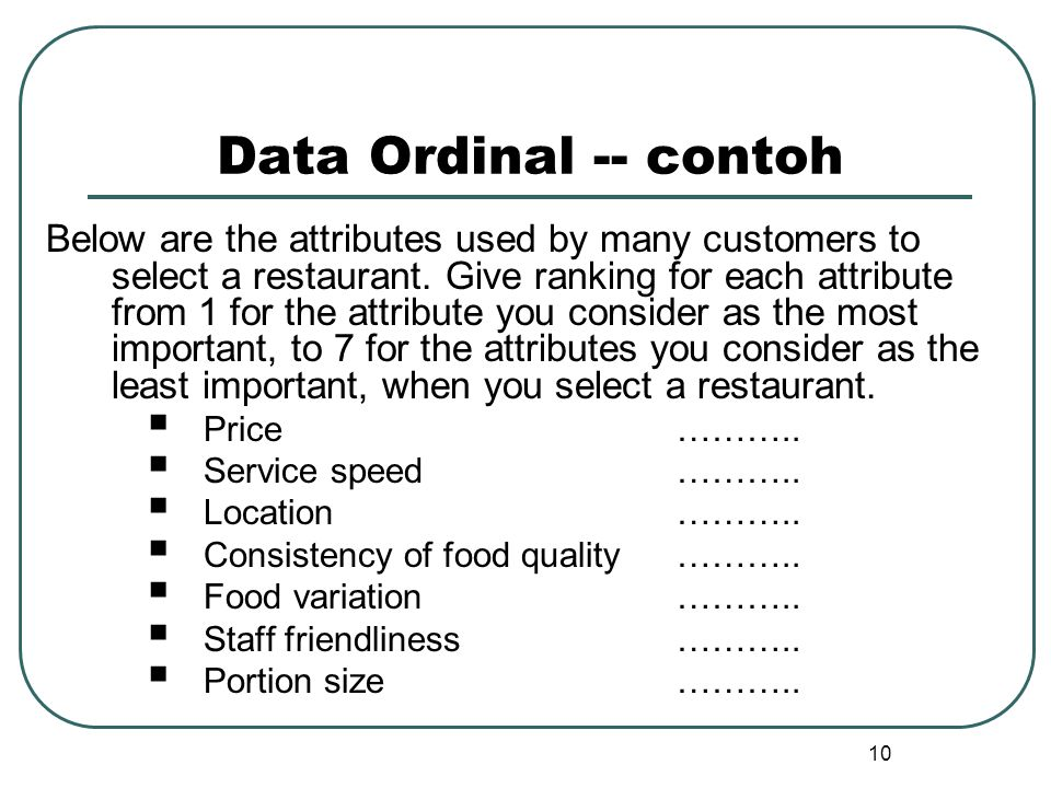 Data Ordinal -- contoh