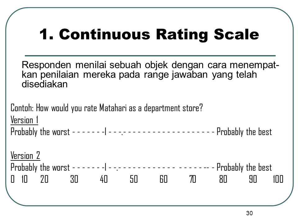 1. Continuous Rating Scale