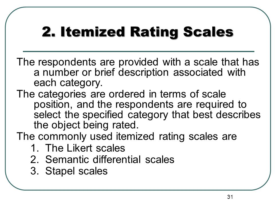 2. Itemized Rating Scales