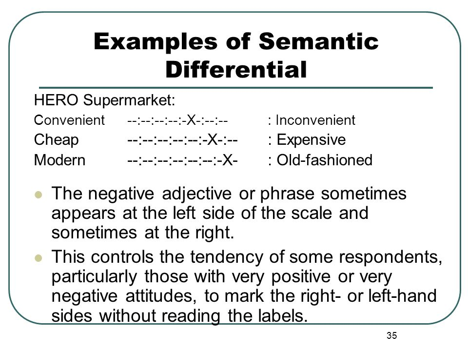 Examples of Semantic Differential