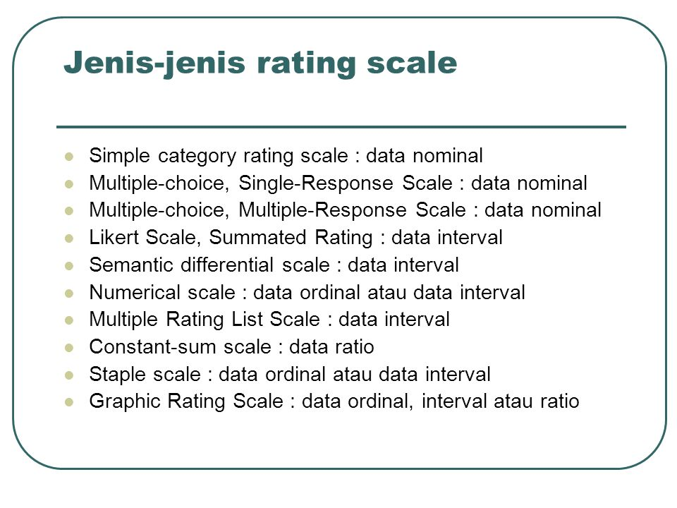Jenis-jenis rating scale