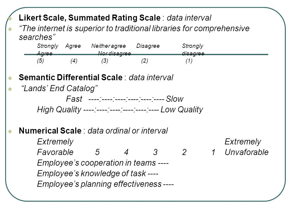 Likert Scale, Summated Rating Scale : data interval